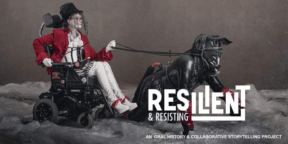 Resilient and Resting homepage image of Dennis Queen in a wheelchair, holding the reigns of a black leather clad pony - Star - on all fours.